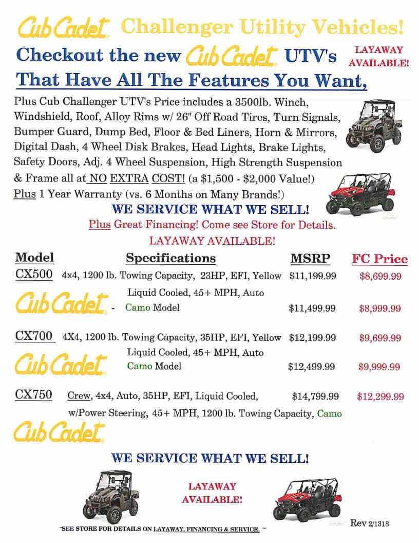 Cub Cadet pg1 UTVs May 3 2018