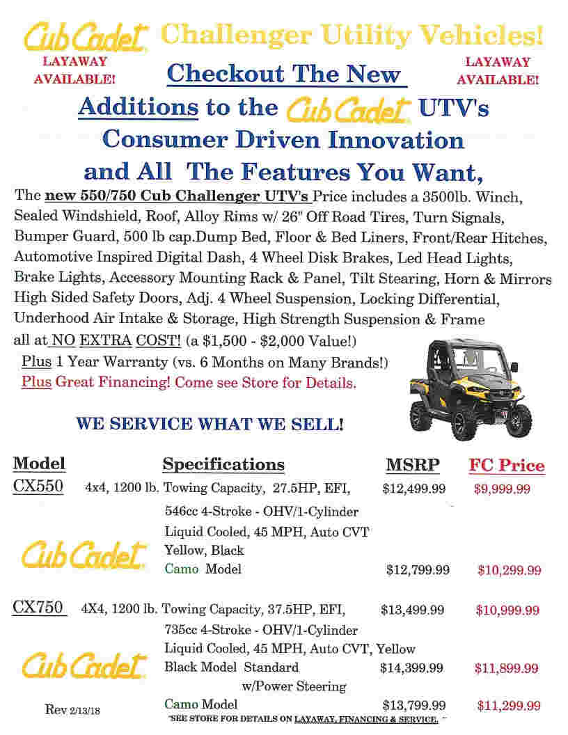 Cub Cadet pg2 UTVs May 3 2018