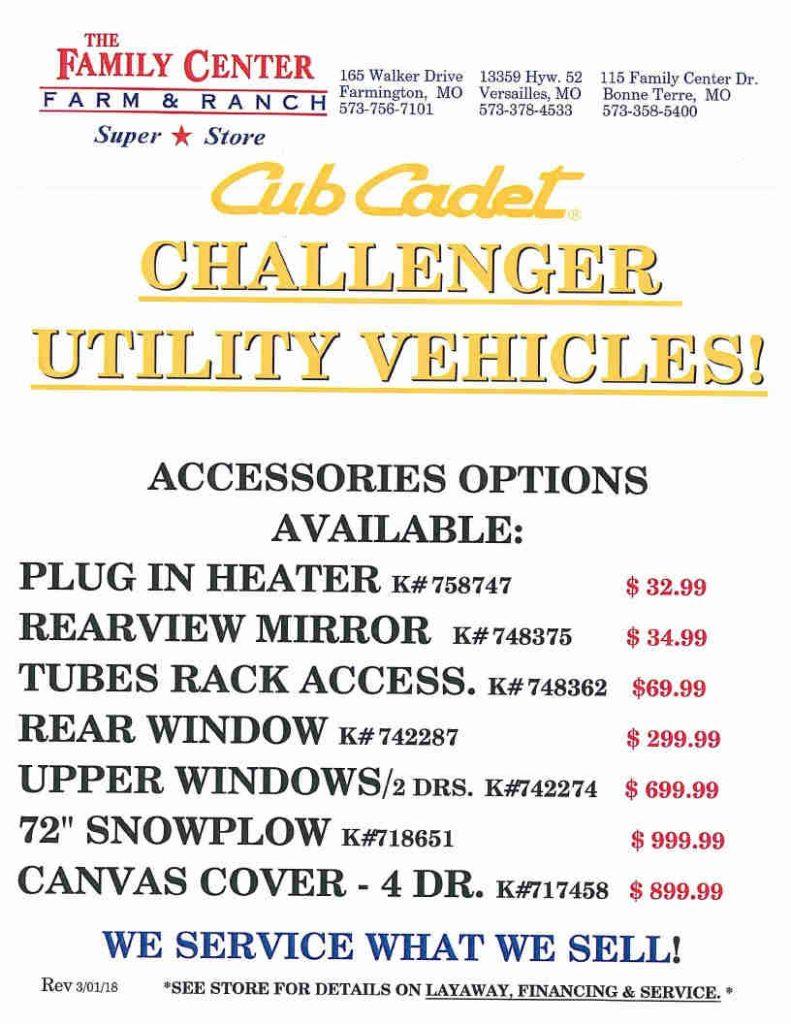 Cub Cadet pg4 UTV accessories May 3 2018
