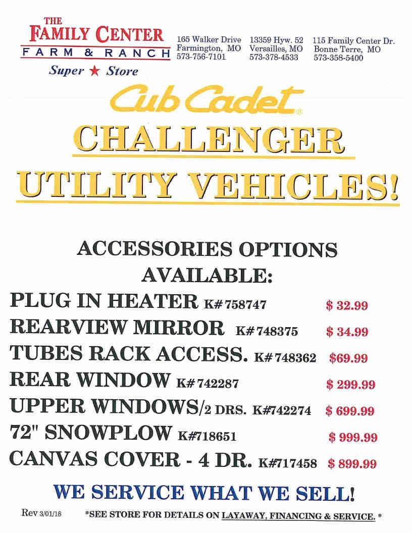 Cub Cadet pg4 UTV accessories May 3 2018