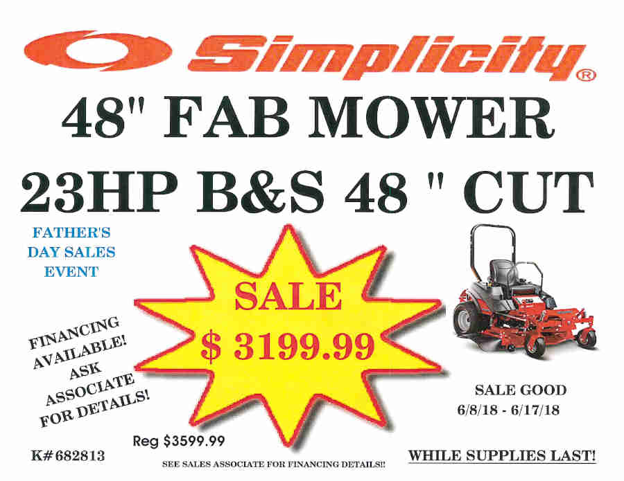 "FATHER'S DAY SALE Simplicity 48"" Fab Mower"