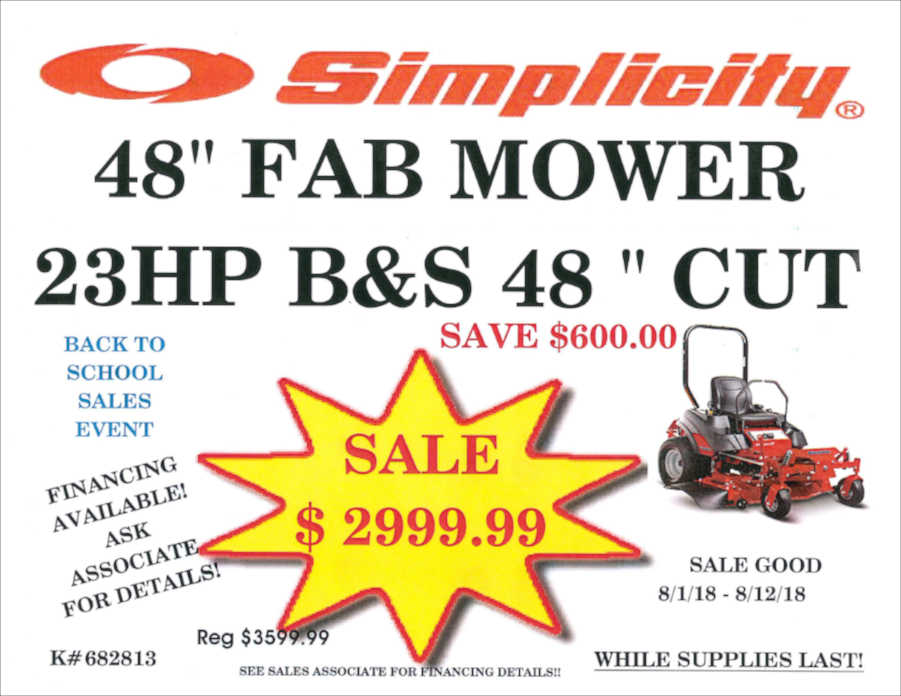 48 inch Simplicity mower on sale