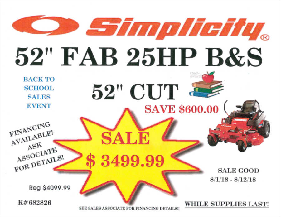BACK TO SCHOOL SALE 52 inch Simplicity Mower
