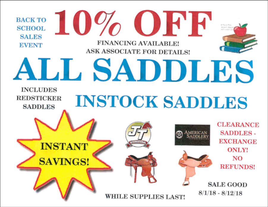BACK TO SCHOOL SALE All Instock Saddles
