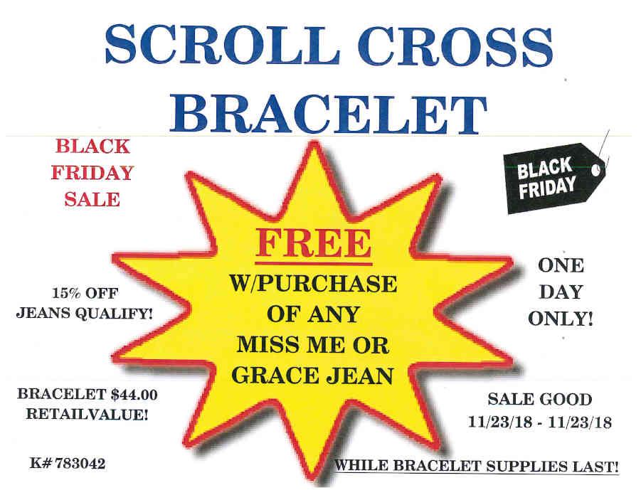 Scroll cross bracelet