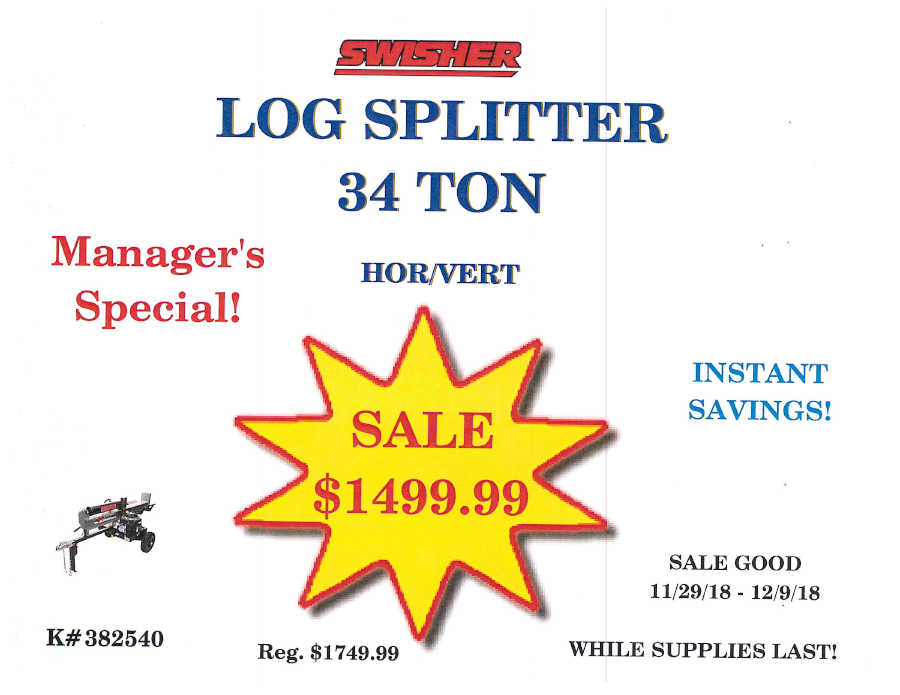 log splitter 34 ton