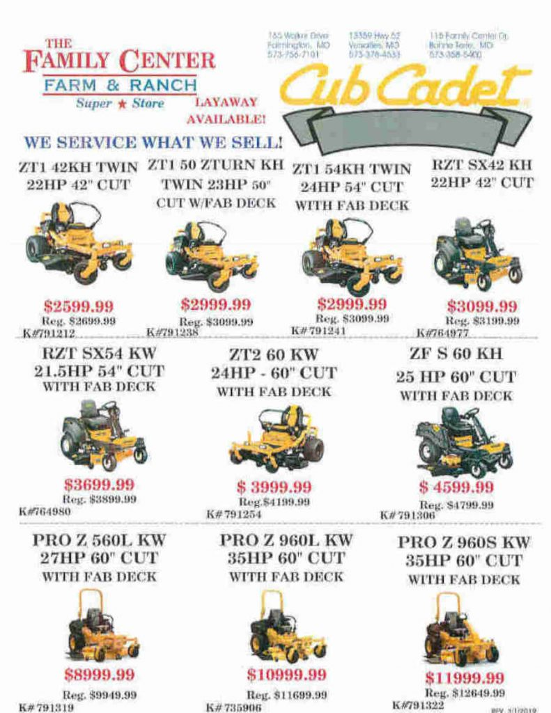 Cub Mowers March 2019